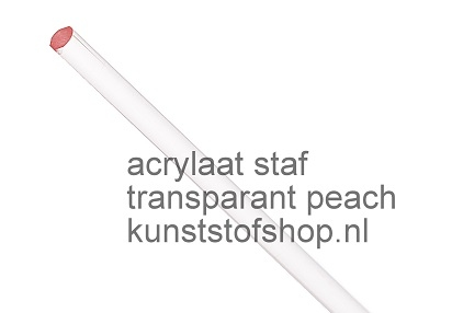 Acrylaat rond staf transparant oranje 1000x6mm