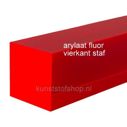 Acrylaat vierkant staf fluor rood 1000x40x40mm